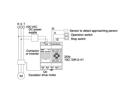 Escalator with Automatic Operation Function - Applications | OMRON on toshiba wiring diagram, veeder root wiring diagram, timer wiring diagram, dayton furnace wiring diagram, bourns wiring diagram, grundfos wiring diagram,