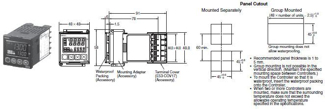 E5CN, E5CN-U Basic-type Digital Temperature Controller (48 x 48 mm on